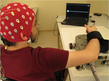 A brain-robot interface system developed at the SPIS and HMI Laboratories.